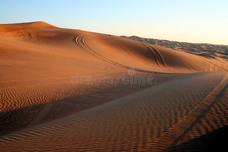 Desert Safari. Dune bashing near Dubai, at Sunset stock photo