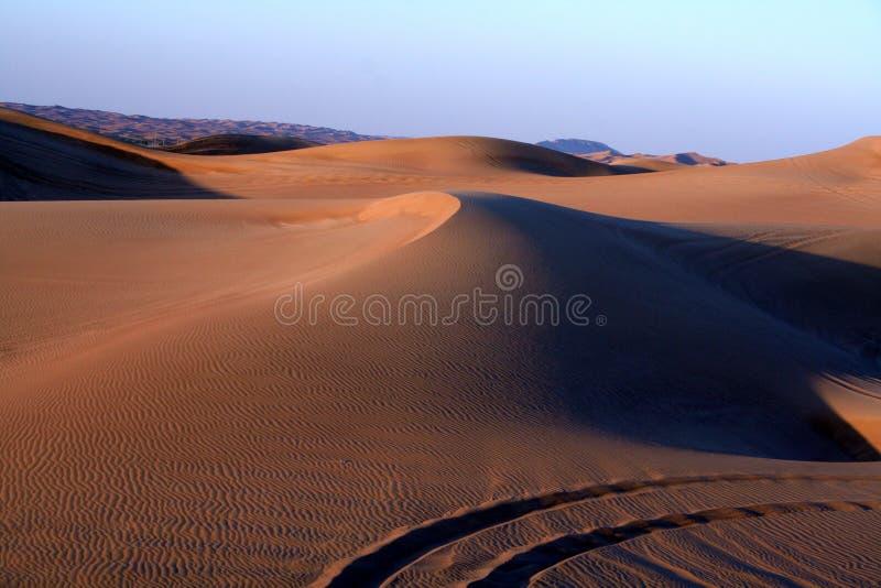 Desert Safari. Dune bashing near Dubai, at Sunset stock image