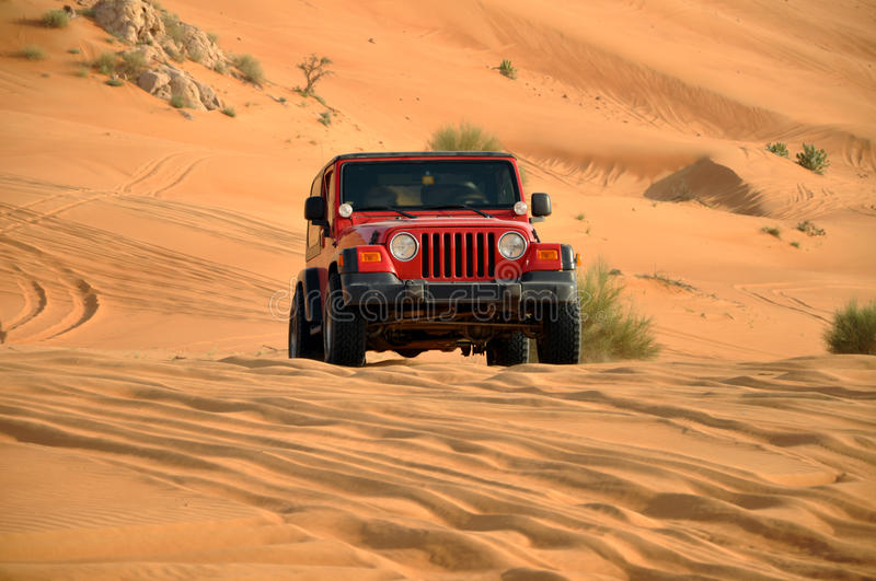 Desert safari in a jeep royalty free stock image