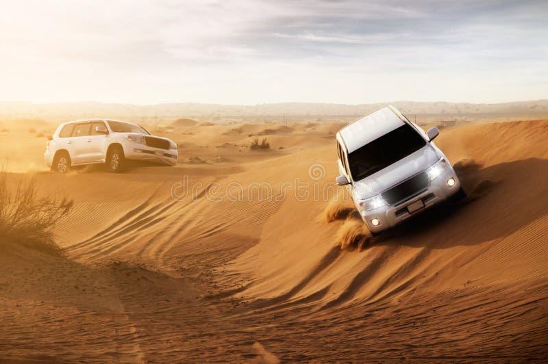 Desert Safari. Safari in the desert with suv royalty free stock photos