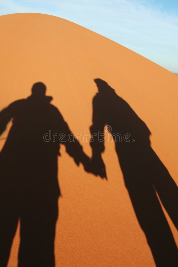 Desert Sahara. Couple shadow in sand desert Sahara stock images