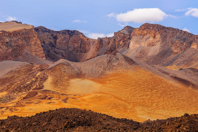 Desert sands of Teide volcano in Tenerife, Spain.  royalty free stock images