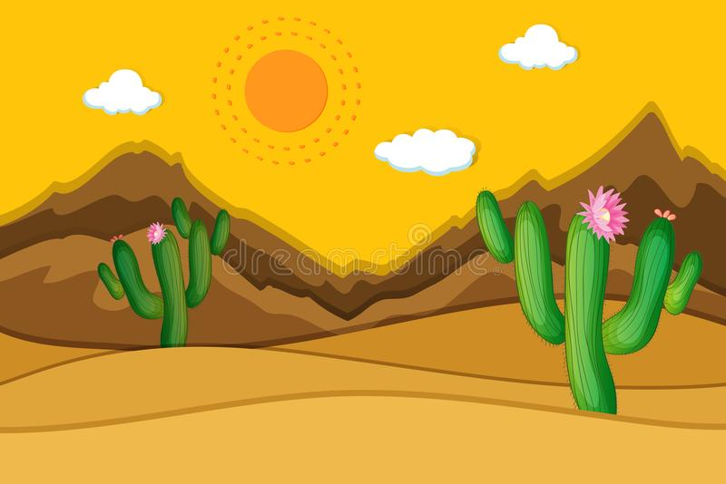 Desert scene with cactus in foreground. Illustration royalty free illustration