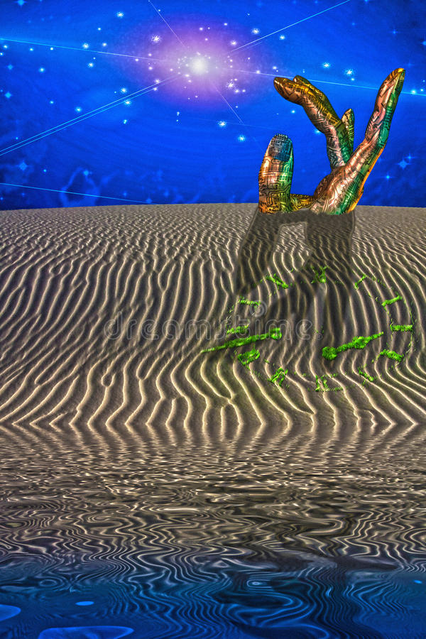 Download Desert Scene With Giant Sculpture Stock Illustration - Image: 25323025