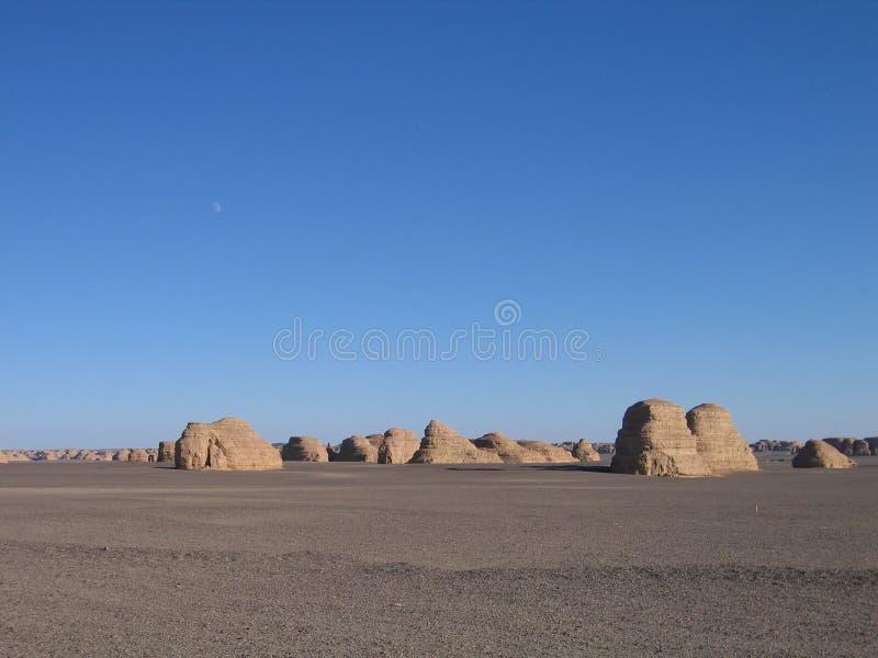 The desert scenery. China's western desert scenery.She was beautiful stock image