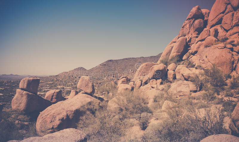 Desert scenery near Scottsdale Arizona,USA. Dramatic desert scenery near Scottsdale boulder area stock photography