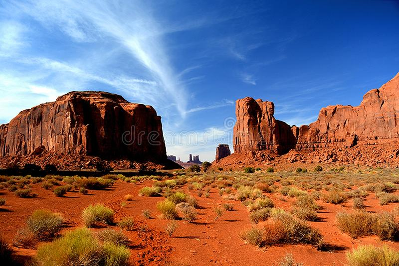 Scenic view of Monument Valley in Utah, United States. Desert Scenic view of Monument Valley in Utah, United States stock photos