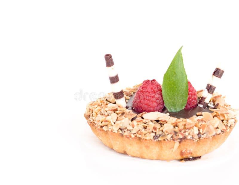 Desert is served!. Close up on raspberry desert stock images