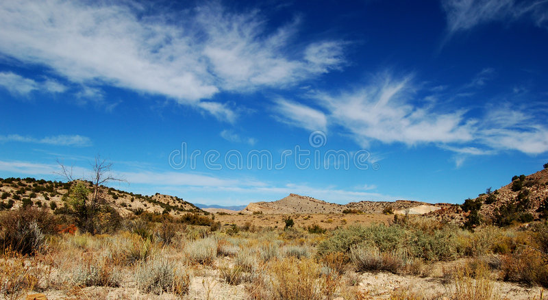 Desert Sky. View from a high desert prairie with a bright blue sky royalty free stock photography