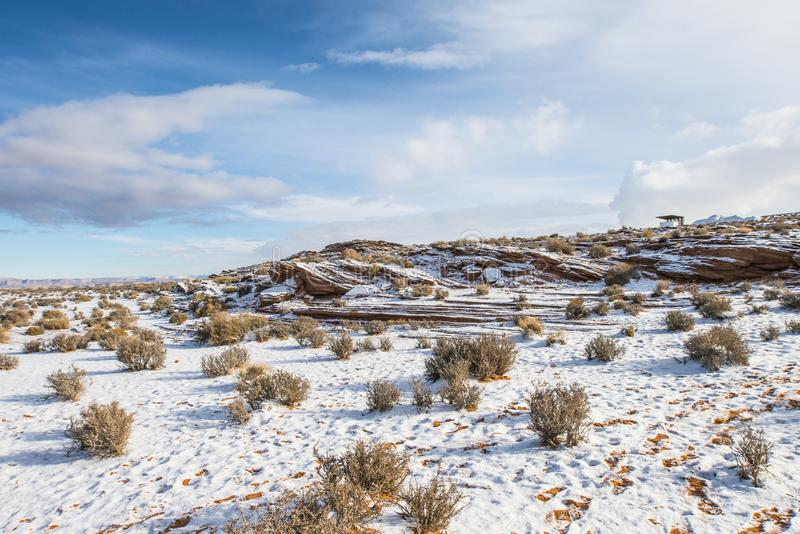 Desert in snow time stock image