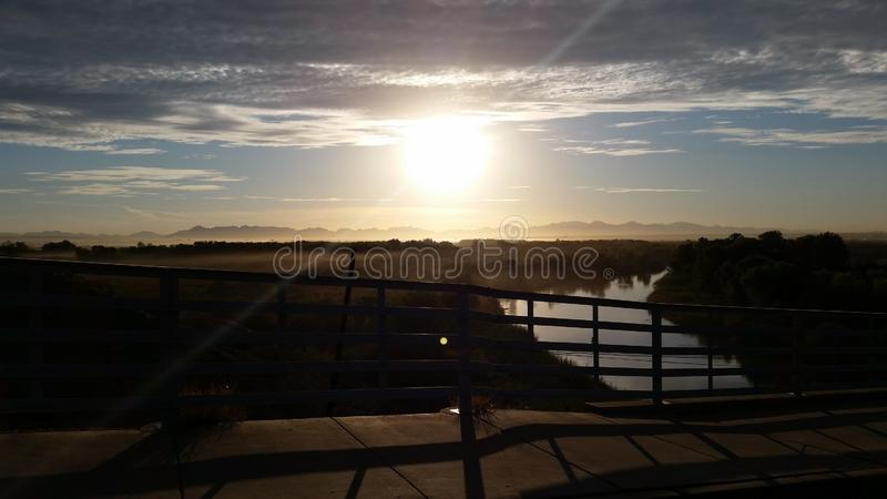Desert Southwest Sunrise. Over the Colorado River Ocean-to-Ocean Bridge stock photography