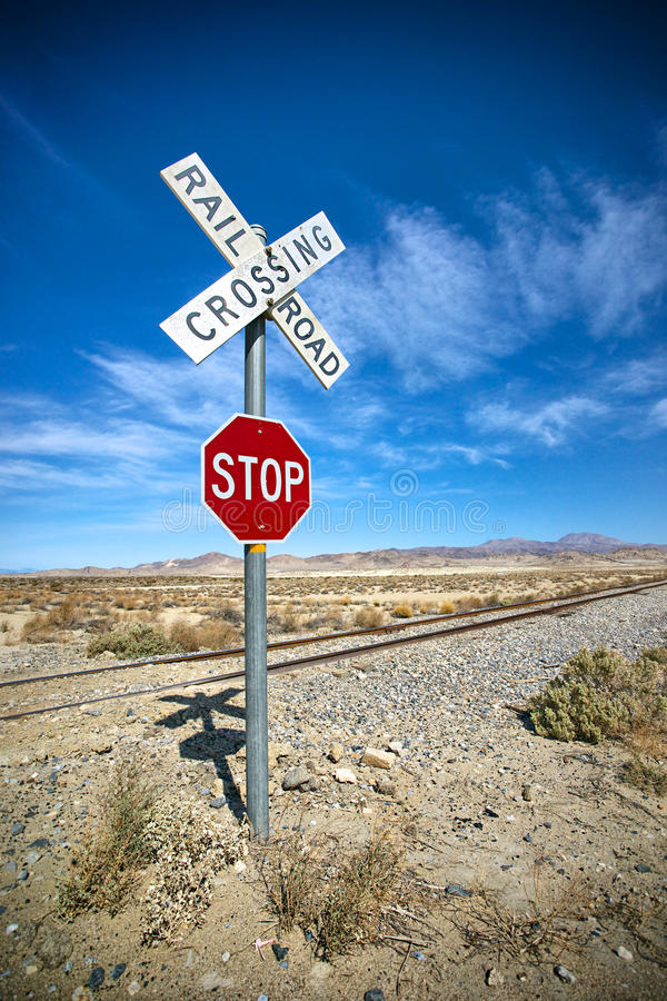 Download Desert Stop Sign And Railroad Crossing Stock Photo - Image of crossing, sand: 34489344