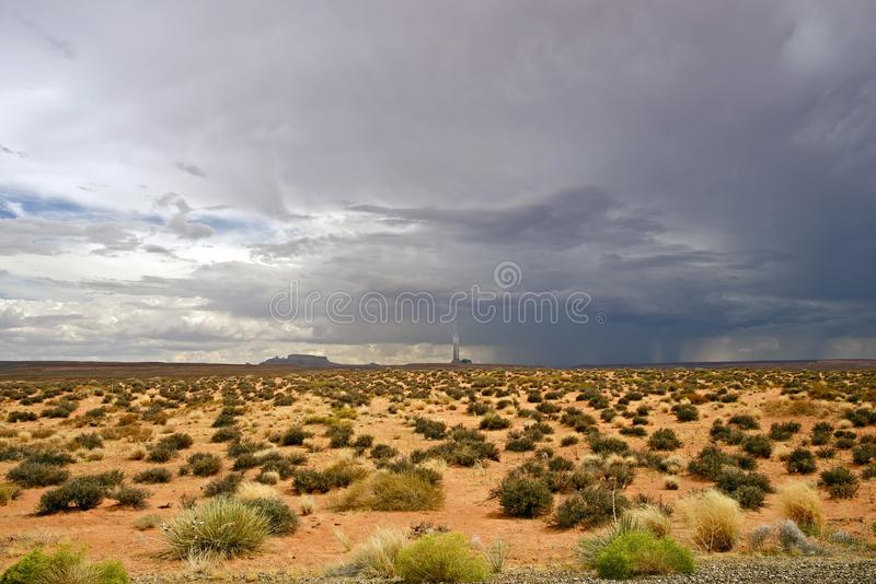 Desert Storm Arizona. Desert Storm in Arizona, USA. Page, AZ Region. Desert Landscape with Power Plant on Horizon. Travel Photography Collection stock photography