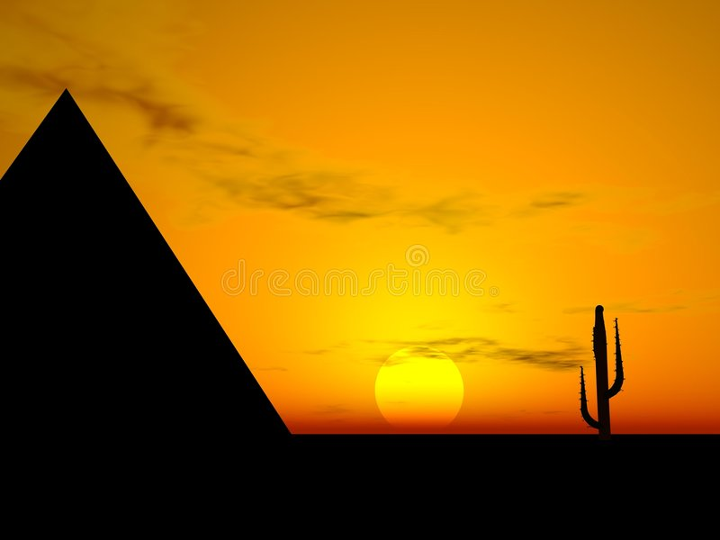 Sunset and Cactus and Teepee Silhouettes royalty free illustration