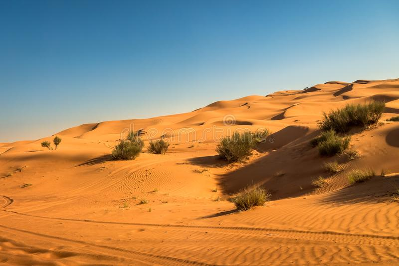 Desert sunset exposure near Dubai, United Arab Emirates royalty free stock photo