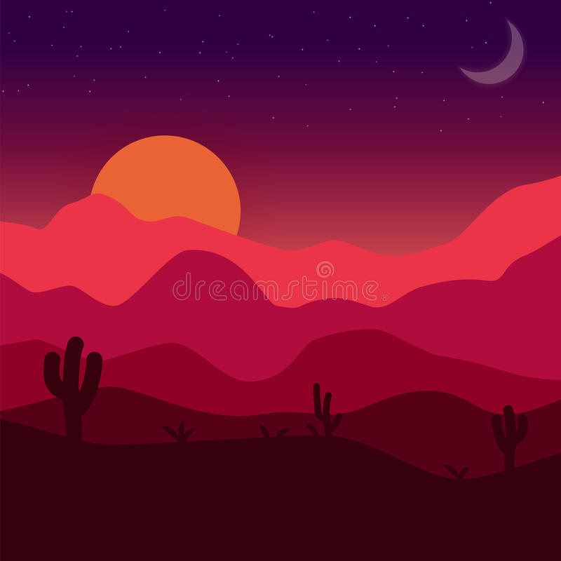 Desert sunset. Vector mexican landscape illustration with cactuses, dunes, rocks, sun and moon stock illustration