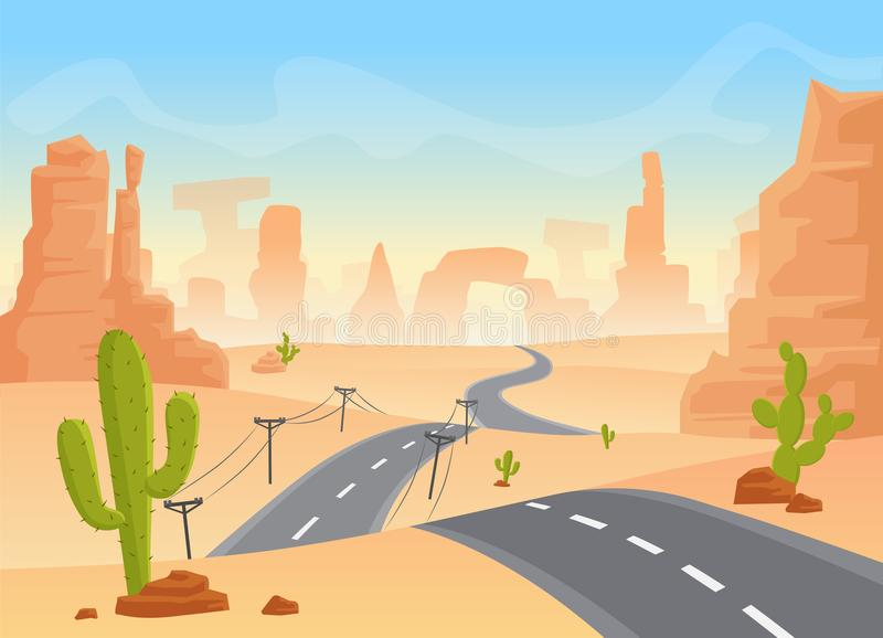 Desert texas landscape. Vector cartoon desert with road, cactuses and rock mountains. stock illustration