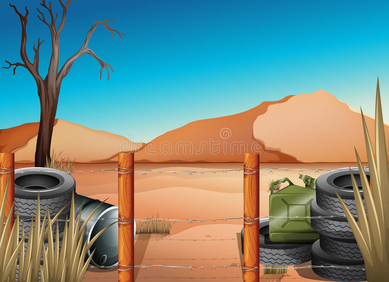 A desert with tires and a barbwire fence. Illustration of a desert with tires and a barbwire fence royalty free illustration