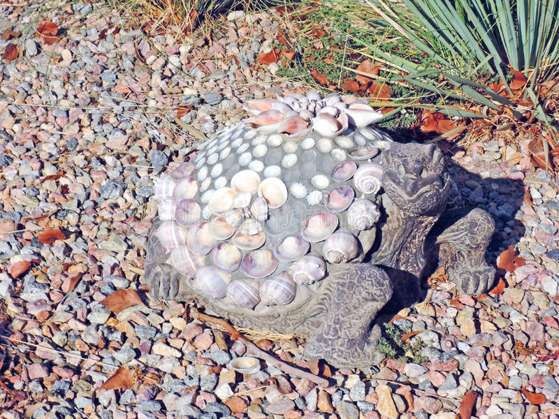 Desert Tortoise----Mixed Media Art. Using concrete, shells, and a precast concrete form the artist created a likeness of a local desert tortoise stock images