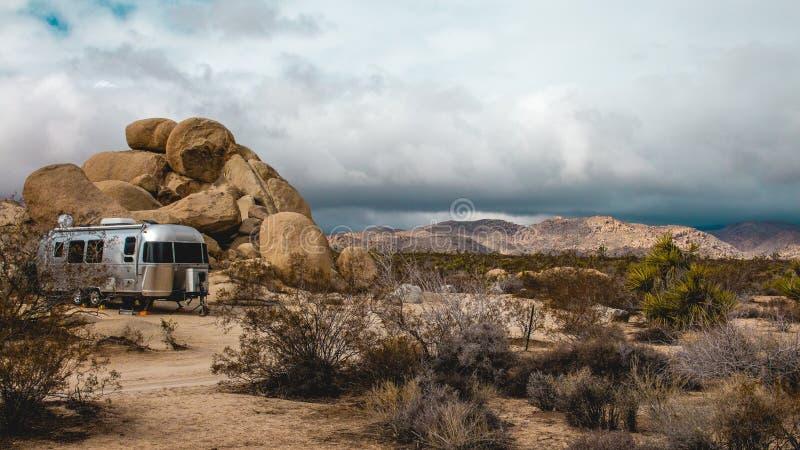 Desert trailer camping. royalty free stock images