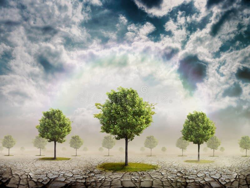 The desert and trees stock illustration