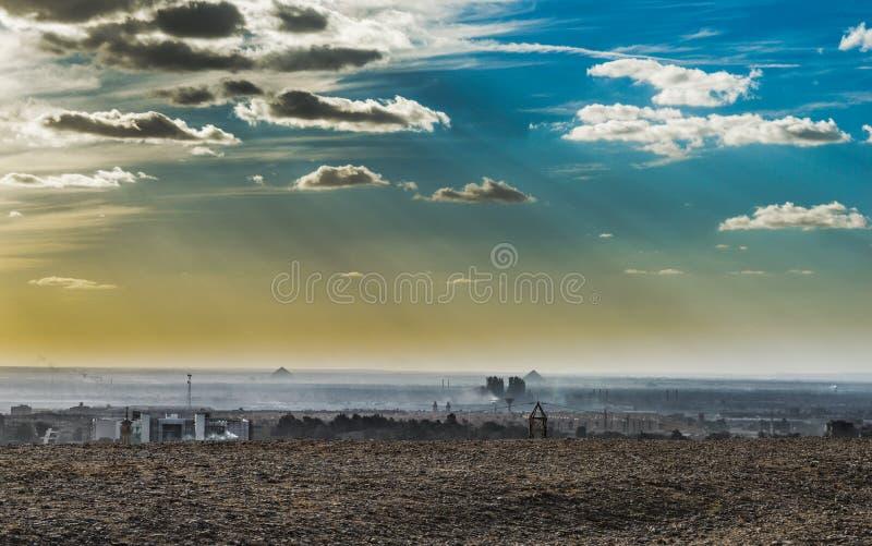 Desert Under Sunny Cloudy Blue Sky royalty free stock photo