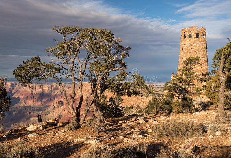 Desert View Watch Tower late afternoon above the Grand Canyon. Desert View Watch Tower late afternoon from the south rim of the Grand Canyon National Park stock photos