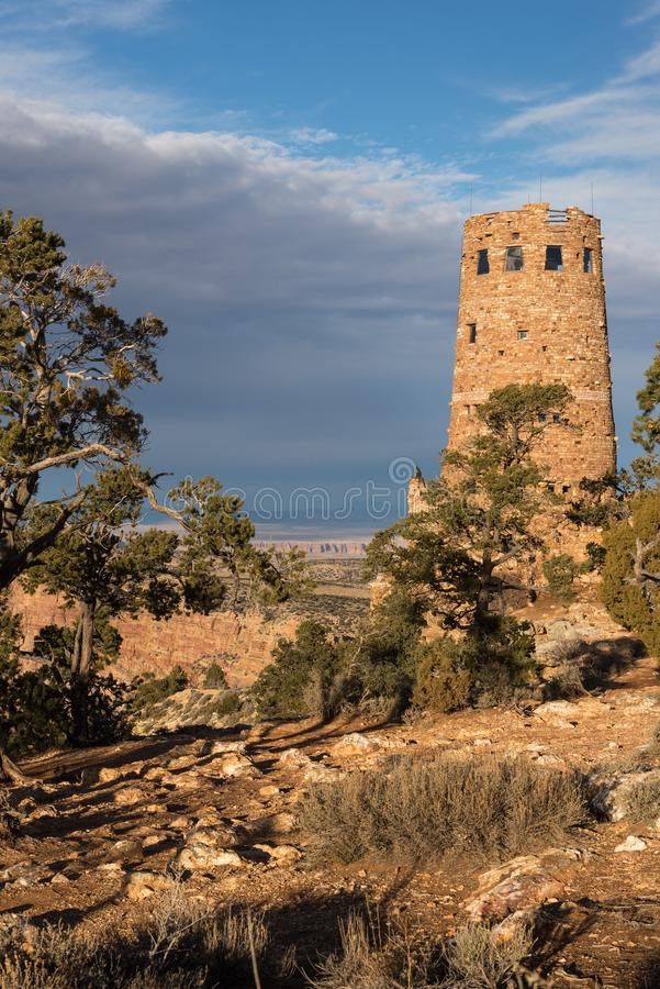 Desert View Watch Tower late afternoon above the Grand Canyon. Desert View Watch Tower late afternoon from the south rim of the Grand Canyon National Park royalty free stock images