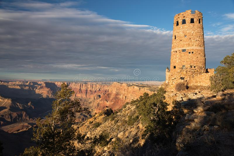 Desert View Watch Tower late afternoon above the Grand Canyon. Desert View Watch Tower late afternoon from the south rim of the Grand Canyon National Park royalty free stock photos