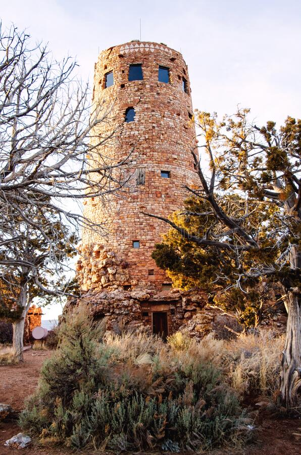 Desert view watchtower along south rim of Grand Canyon stock photography
