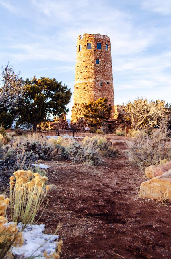 Desert view watchtower along south rim of Grand Canyon royalty free stock photos