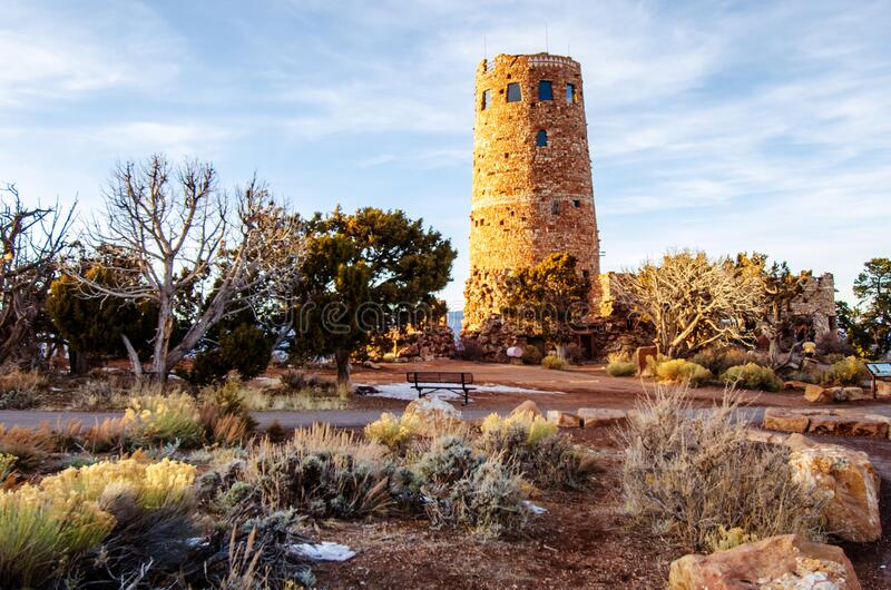 Desert view watchtower along south rim of Grand Canyon royalty free stock photography