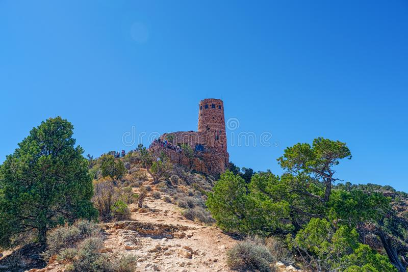 Desert View Watchtower, Grand Canyon in Arizona, Southern Rim royalty free stock images