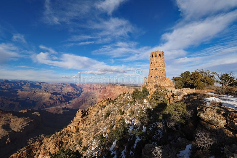The Desert View Watchtower on the south rim of the Grand Canyon. The Desert View Watchtower on the south rim of the canyon in Grand Canyon National Park royalty free stock photography