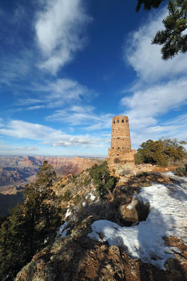 The Desert View Watchtower on the south rim of the Grand Canyon. The Desert View Watchtower on the south rim of the canyon in Grand Canyon National Park stock image