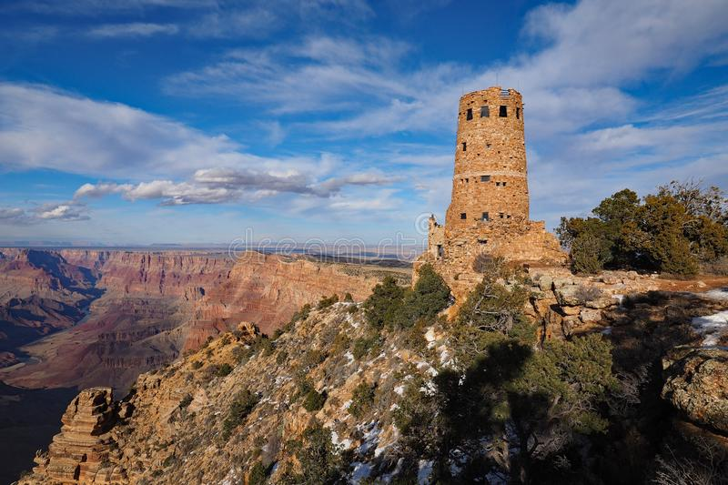 The Desert View Watchtower on the south rim of the Grand Canyon. The Desert View Watchtower on the south rim of the canyon in Grand Canyon National Park royalty free stock photos