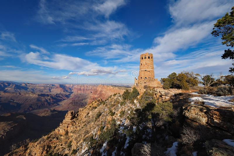 The Desert View Watchtower on the south rim of the Grand Canyon. The Desert View Watchtower on the south rim of the canyon in Grand Canyon National Park royalty free stock photo