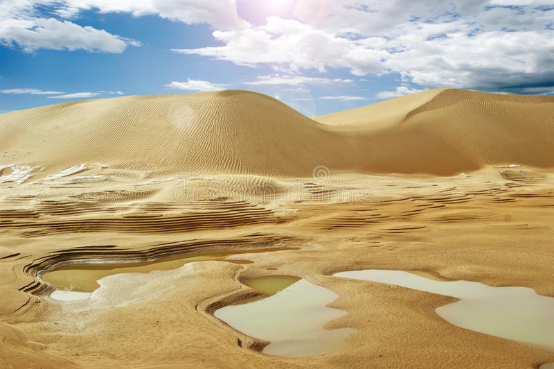 Desert and water stock images
