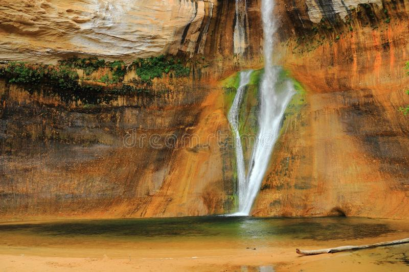 , Escalante National Monument, Utah, Southwest, USA, Desert Waterfall at Lower Calf Creek Falls. Lower Calf Creek Falls is a beautiful desert waterfall at the stock photography