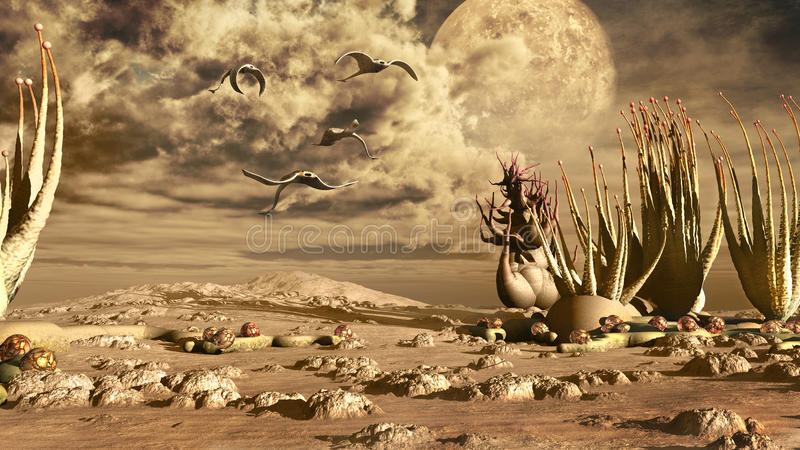 Desert world. Desert scenery with fantasy plants and creatures stock illustration