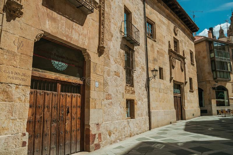 Deserted alley and gothic buildings at Salamanca royalty free stock photo