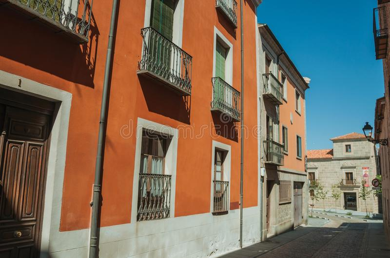 Deserted alley and old colorful building at Avila stock photos