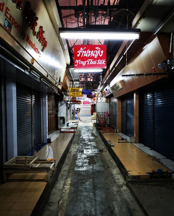 Deserted alley at Pratunam Market stock photo