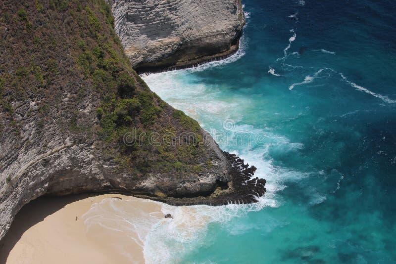 Deserted beach blue sea. In Nusapenida, Indonesia stock images
