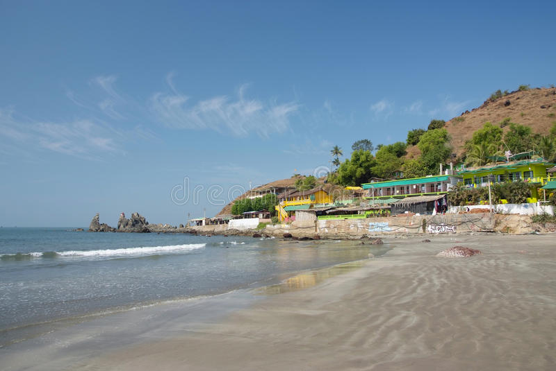 Deserted Beach With Huts Royalty Free Stock Images