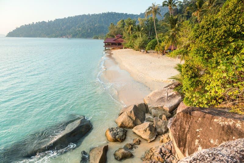 Deserted beach on Pulau Tioman, Malaysia royalty free stock image