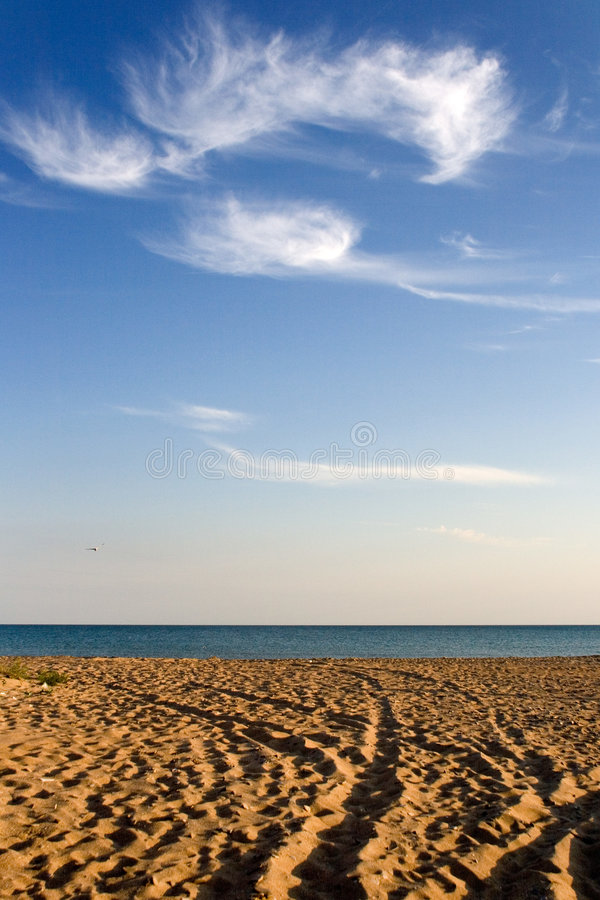 Deserted beach with tracks stock photography