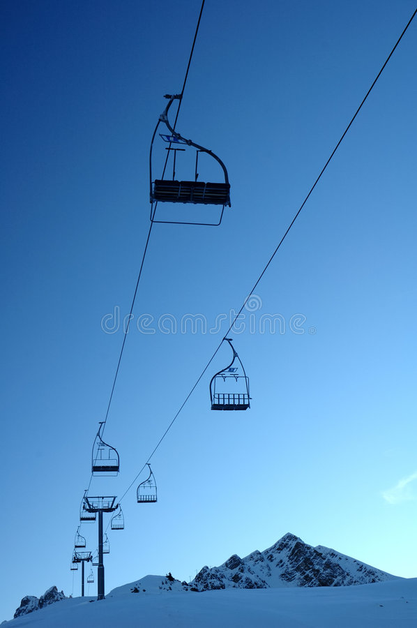 Deserted chair lift stock images