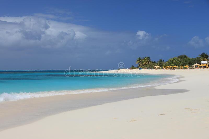 Deserted clean sandy beach stock image