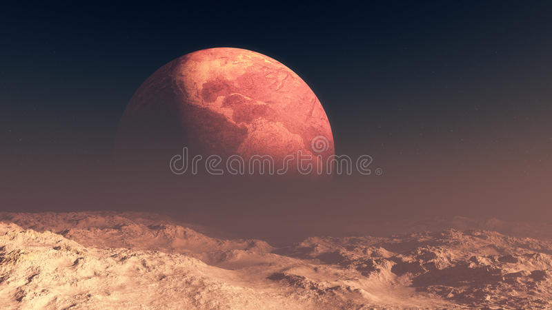 Deserted Earth In The Horizon Of Moon royalty free illustration